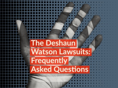Text to article entitled The Deshaun Watson Lawsuits: Frequently Asked Questions. Photo shows a shadowed hand with an instagram logo on it.